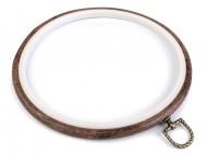 Vyšívací kruh / rámeček k zavěšení 20 cm hnědá, 1 ks - zvětšit obrázek