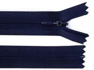 Spirálový zip skrytý šíře 3 mm délka 20 cm 330 modrá tmavá, 1 ks - zvětšit obrázek