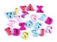 Dřevěná písmena abecedy, čísla mix č. 2 písmena, 100 ks - zvětšit obrázek