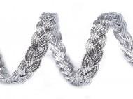 Leonský prýmek copánky 2 stříbrná, 18 m - zvětšit obrázek